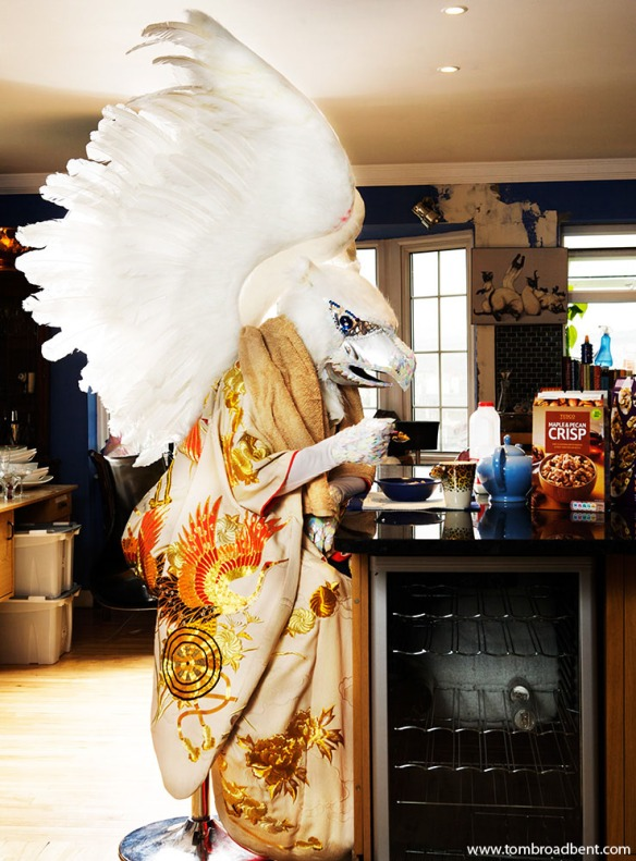 Chil, a disco gryphon eats breakfast at home. Chil is a project manager who lives in Brighton with his partner, Red Russell.