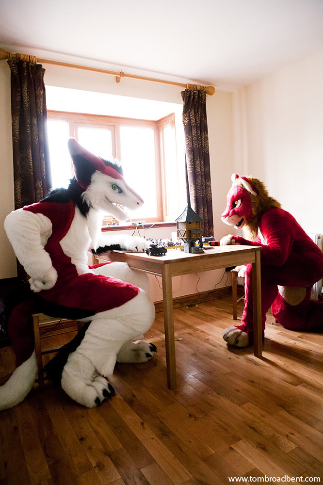 Jester and Red. Jester is a sergal, a mythical creature and Red is a lion. They live in Sheffield