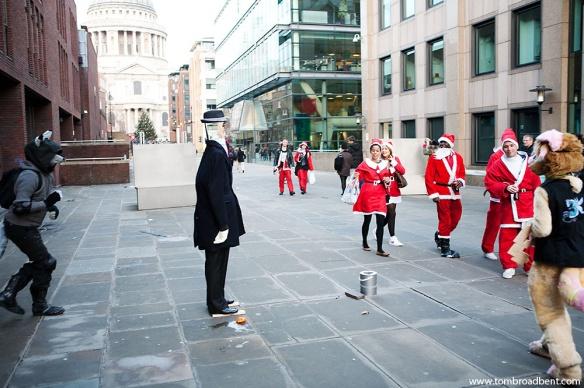 Furries vs Santas vs Street Performer