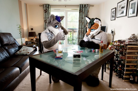 Lupus Londonwolf and Alfa Fox, a wolf and fox. They live together in Bishops Stortford.