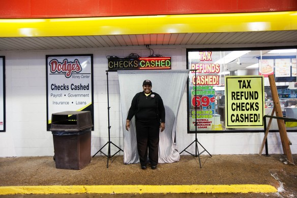 Clarissa Brown, 25, fried-chicken waitress, Dodge's Quick Cash store, Arkansas (Photograph courtesy: ©Mark Chilvers 2013)