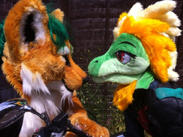 Godzuki and Rebel share a moment