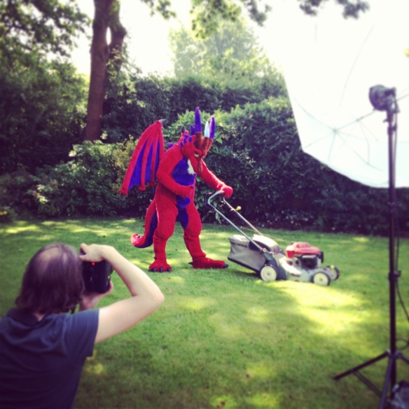 Saethwr the dragon mowing the lawn ( Picture: Matt Writtle )