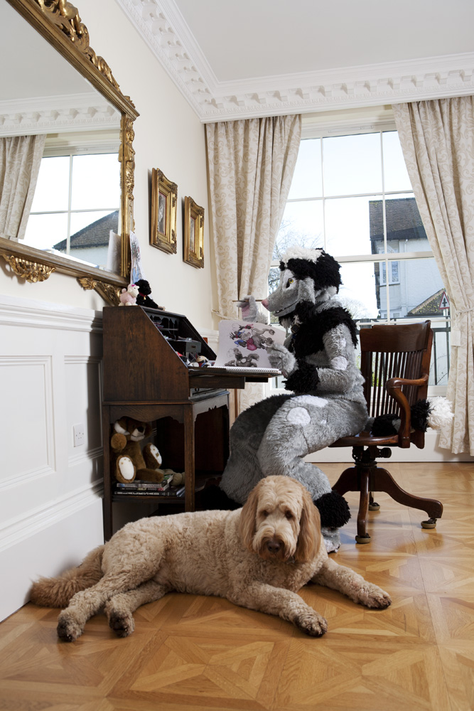 Edward Fuzzypaws, a poodle and Teddy, a labradoodle in their drawing room
