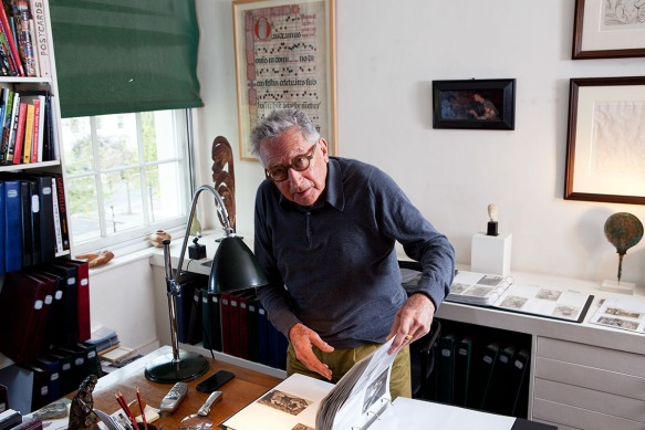 John Kasmin at home. Photographed for Newsweek in London, the former art dealer turned postcard collector introduced his collection of rare, incredible and sometimes bizarre original postcards that he has collected over the years. the most expensive postcard in his collection cost 5800 Euros. Although most were much less than that.