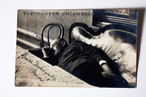 Posted in 1907, it's a postcard of a drunk sleeping. Why, ? Well that would be to question why millions of postcards were posted every week back then...